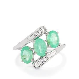 Siberian Emerald Ring with Diamond in 14k White Gold  2.37cts