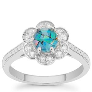 Mosaic Opal Ring with White Zircon in Sterling Silver 1cts