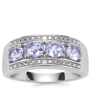 AA Tanzanite Ring with Diamond in Sterling Silver 1.24cts