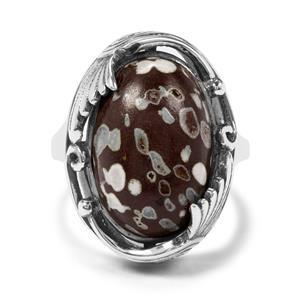 10.96ct Dinosaur Bone Sterling Silver Aryonna Ring