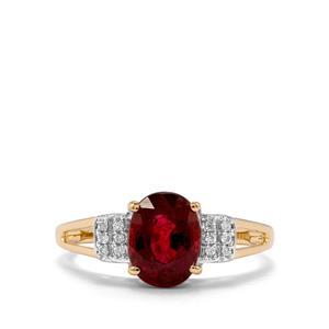 Nigerian Rubellite & Diamond 18K Gold Tomas Rae Ring MTGW 2cts