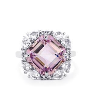 Rose De France Amethyst & White Topaz Sterling Silver Asscher Cut Ring ATGW 9.35cts