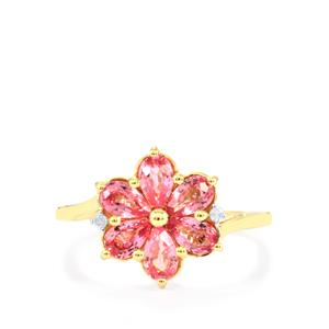 Sakaraha Pink Sapphire Ring with Diamond in 9K Gold 1.57cts