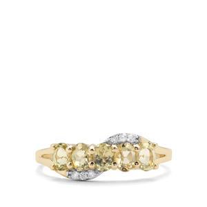 Chrysoberyl & White Diamond 9K Gold Ring ATGW 1cts