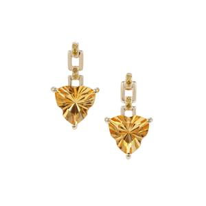 Lehrer Infinity Cut Dimantina Citrine Earrings with Yellow Diamond in 9K Gold 3.17cts