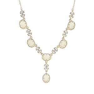 Coober Pedy Opal Necklace with White Zircon in 9K Gold 2.75cts