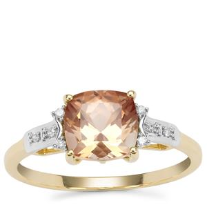 Watermelon Oregon Sunstone Ring with Diamond in 9K Gold 1.39cts