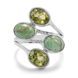 Australian Variscite & Changbai Peridot Sterling Silver Aryonna Ring ATGW 6cts