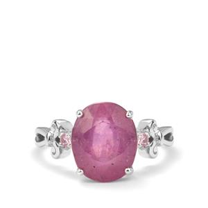 Ilakaka Hot Pink Sapphire Ring with Pink Sapphire in Sterling Silver 7.20cts (F)