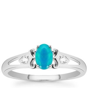 Ethiopian Paraiba Blue Opal Ring with White Topaz in Sterling Silver 0.30ct