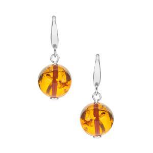 Baltic Cognac Amber Earrings in Sterling Silver (12mm)
