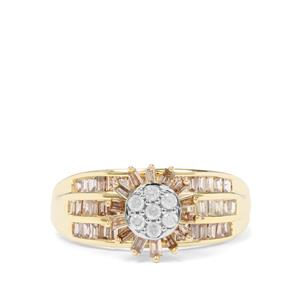 1ct Champagne & White Diamond 9K Gold Tomas Rae Ring