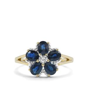 Australian Blue Sapphire Ring with Diamond in 9K Gold 1.86cts