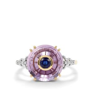 Lehrer Iris Ametista Amethyst, Daha Kyanite & Diamond 9K Gold Ring ATGW 4.07cts