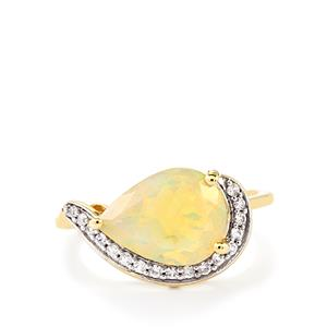Ethiopian Opal Ring with White Zircon in 10k Gold 2.21cts