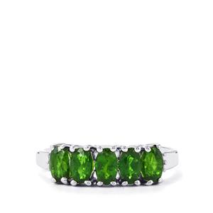 Chrome Diopside Ring with Diamond in Sterling Silver 1.24cts