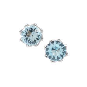 Lotus Cut Sky Blue Topaz Earrings in Sterling Silver 8.97cts