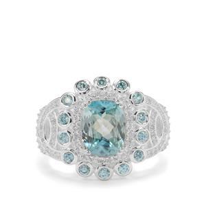 4.33ct Ratanakiri Blue & White Zircon Sterling Silver Ring