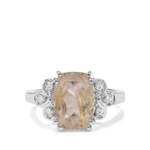 Bahia Rutilite & White Zircon Sterling Silver Ring ATGW 5.03cts