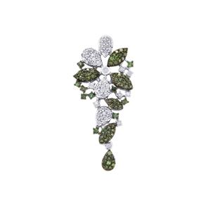 Papillions Dand Le Jardin Green Diamond Pendant with White Diamond in Sterling Silver 0.77ct