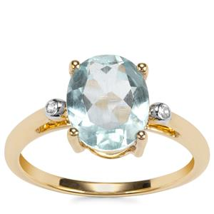 Mozambique Aquamarine Ring with White Zircon in 9K Gold 2.11cts