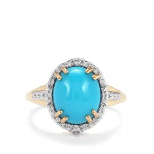 Sleeping Beauty Turquoise Ring with Diamond in 18k Gold 4.18cts