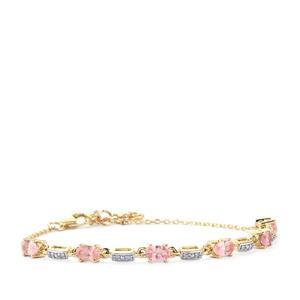 Mozambique Pink Spinel & Diamond 10K Gold Bracelet ATGW 1.53cts