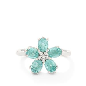 Madagascan Blue Apatite & White Topaz Sterling Silver Ring ATGW 2.05cts