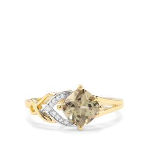 Csarite® & Diamond 9K Gold Ring ATGW 1.73cts