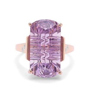 Lehrer Matrix Cut Rose De France Amethyst & Diamond 9K Rose Gold Ring ATGW 10.98cts