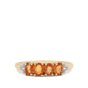 Tanzanian Sunset Sapphire & White Zircon 9K Gold Ring ATGW 1.29cts