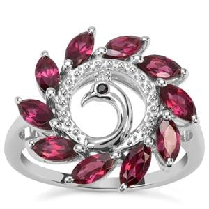 Rajasthan Garnet Peacock Ring with Black Spinel in Sterling Silver 1.99cts
