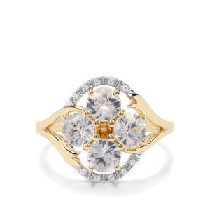 Singida Tanzanian Zircon, Diamantina Citrine & White Zircon 9K Gold Ring ATGW 2.56cts