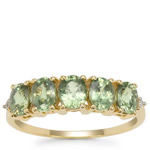 Green Dragon Demantoid Garnet Ring with Diamond in 9K Gold 2.35cts