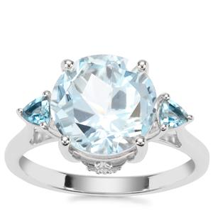Lone Star Sky Blue, London Blue Topaz Ring with White Zircon in Sterling Silver 5.76cts