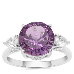 Bahia Amethyst Ring with White Zircon in Sterling Silver 3.96cts