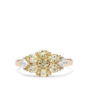 Brazilian Chrysoberyl & White Zircon 9K Gold Ring ATGW 1.66cts