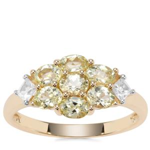 Brazilian Chrysoberyl Ring with White Zircon in 9K Gold 1.66cts