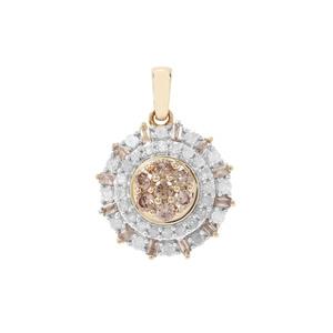 Champagne Diamond Pendant with White Diamond in 9K Gold 0.76ct