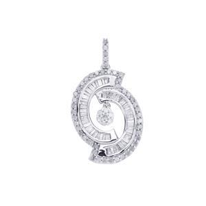 Diamond Pendant in Sterling Silver 1ct