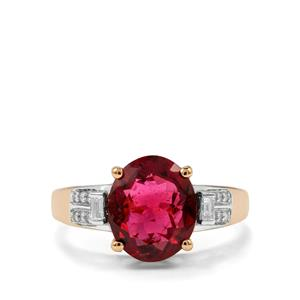 Rubellite Ring with Diamond in 18K Gold 2.95cts