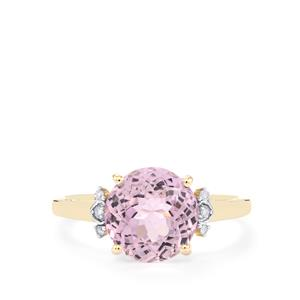 Mawi Kunzite Ring with Diamond in 10k Gold 3.53cts