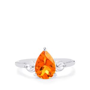 Padparadscha Color Quartz Ring with White Topaz in Sterling Silver 1.83cts