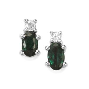 Itabira Emerald Earrings with White Zircon in Sterling Silver 0.50ct