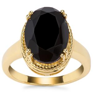 Black Spinel Ring in Gold Plated Sterling Silver 6cts