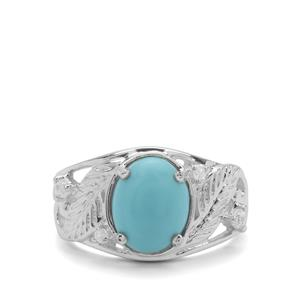 Sleeping Beauty Turquoise & White Zircon Sterling Silver Ring ATGW 2.67cts