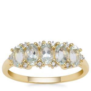 Aquaiba Beryl Ring with White Zircon in 9K Gold 1.16cts