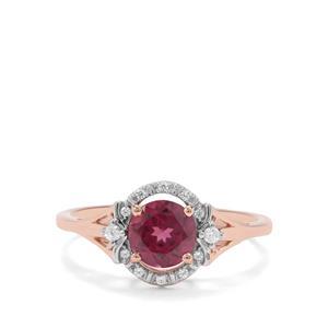 Mahenge Purple Garnet & White Zircon 9K Rose Gold Ring ATGW 1.08cts
