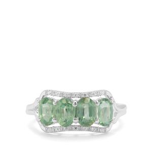 Odisha Kyanite & White Zircon Sterling Silver Ring ATGW 2.43cts
