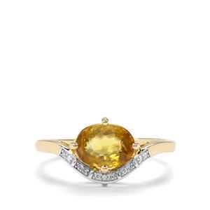 Sambava Sphene & Diamond 9K Gold Ring ATGW 1.46cts